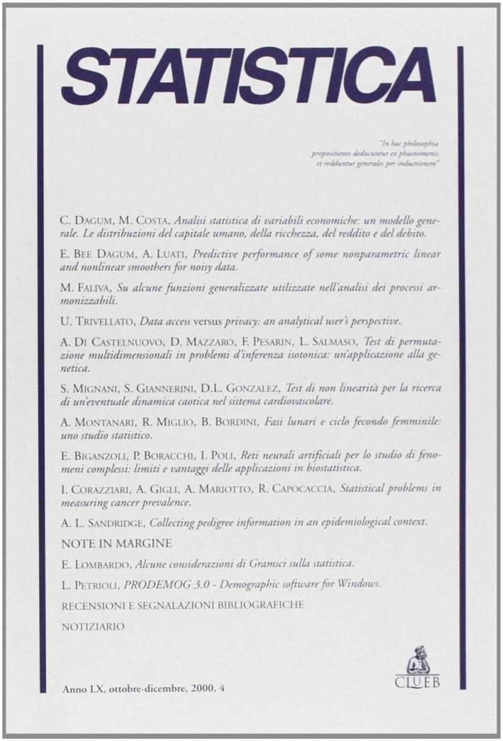 Statistica (2000). Vol. 4.