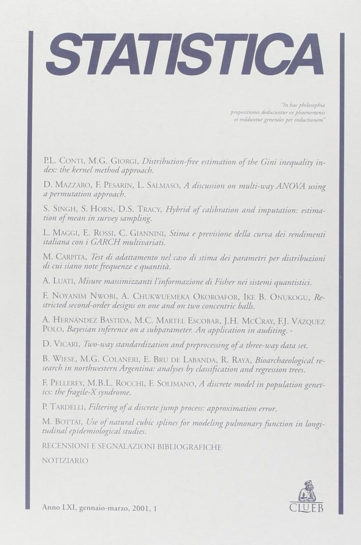 Statistica (2001). Vol. 1.