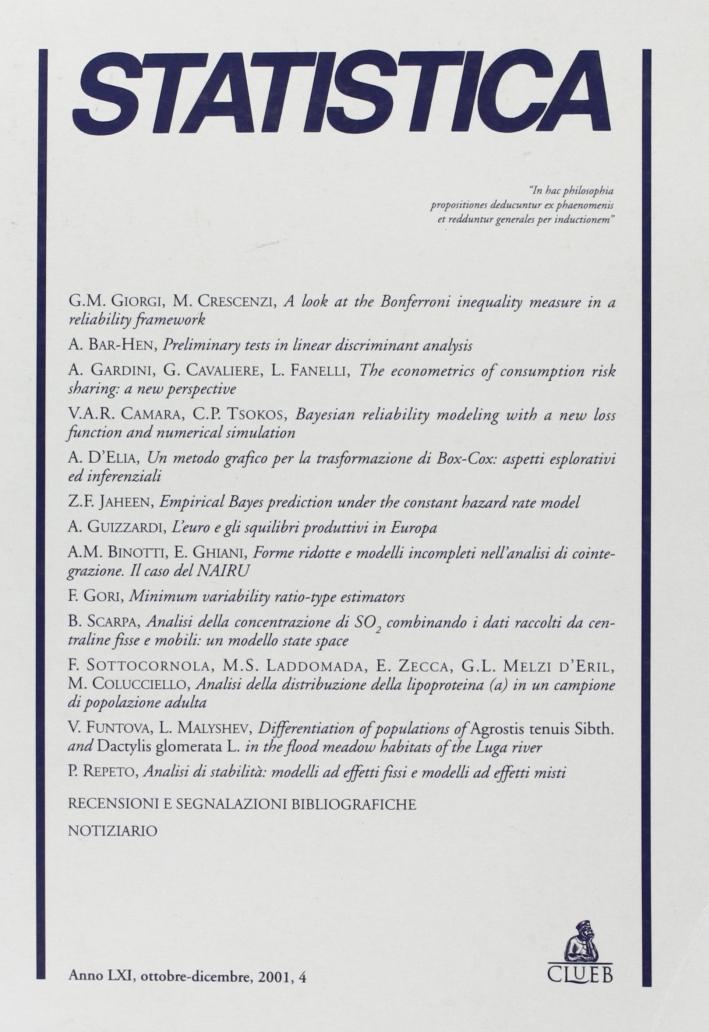 Statistica (2001). Vol. 4.