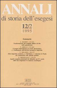 Annali di Storia dell'Esegesi. Vol. 12/2: 1995..
