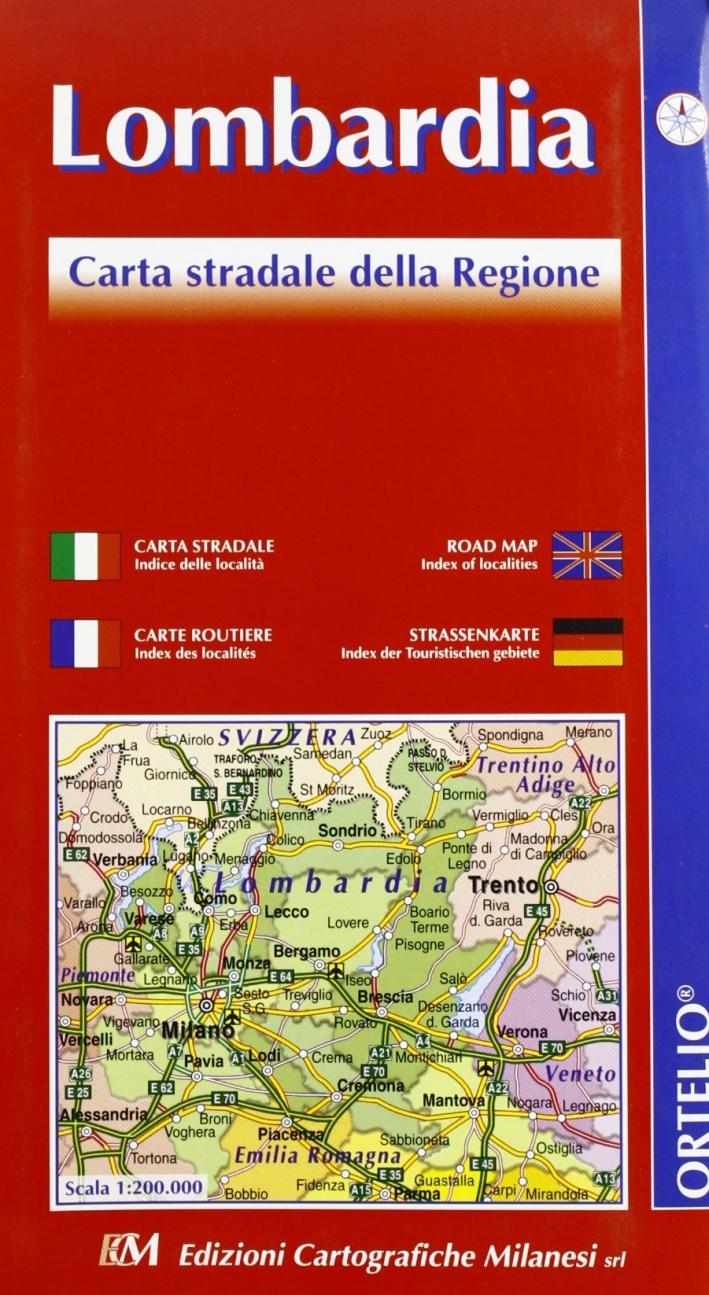 Lombardia. Carta stradale della regione 1:200.000