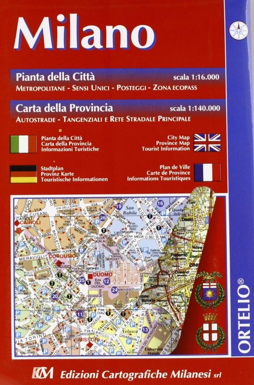 Milano. Pianta della città 1:16.000. Carta della provincia 1:140.000
