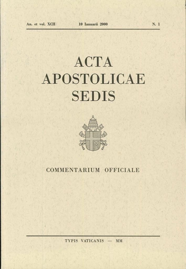 Acta Apostolicae Sedis. 13 volumi. Anno 2000
