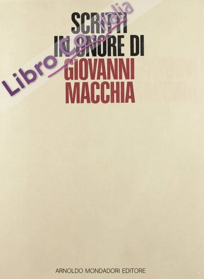 Scritti in onore di Giovanni Macchia