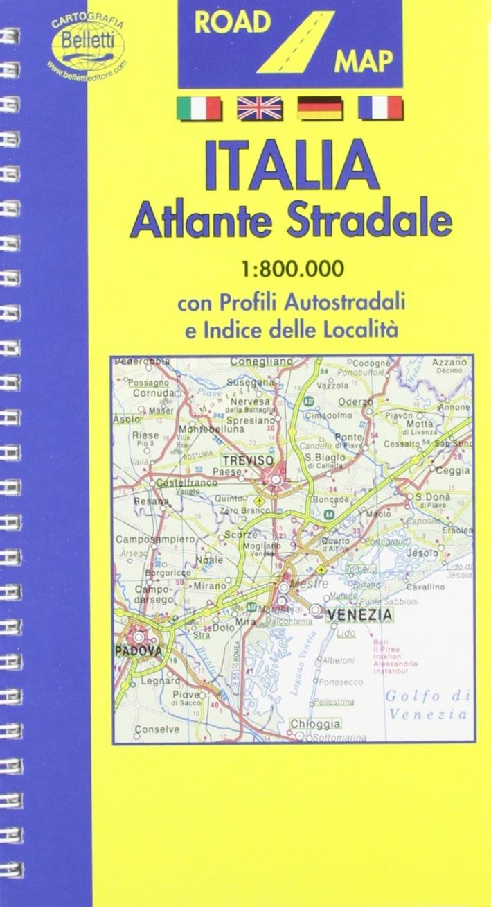 Italia. Atlante stradale 1:800.000. Con profili autostradali e indice delle località