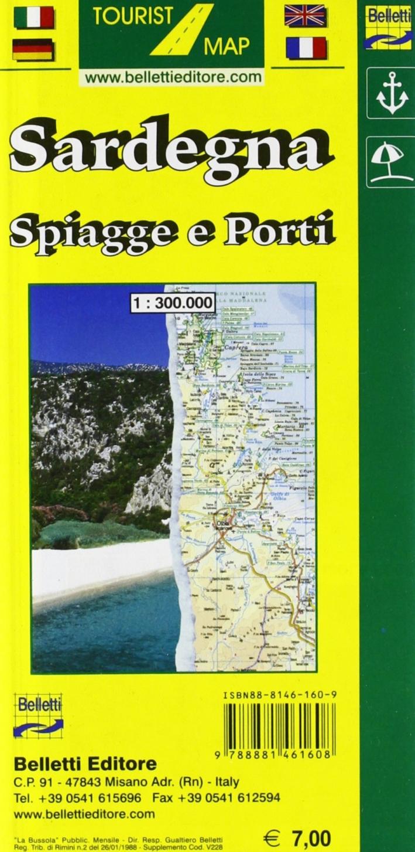 Sardegna. Spiagge e porti 1:300.000