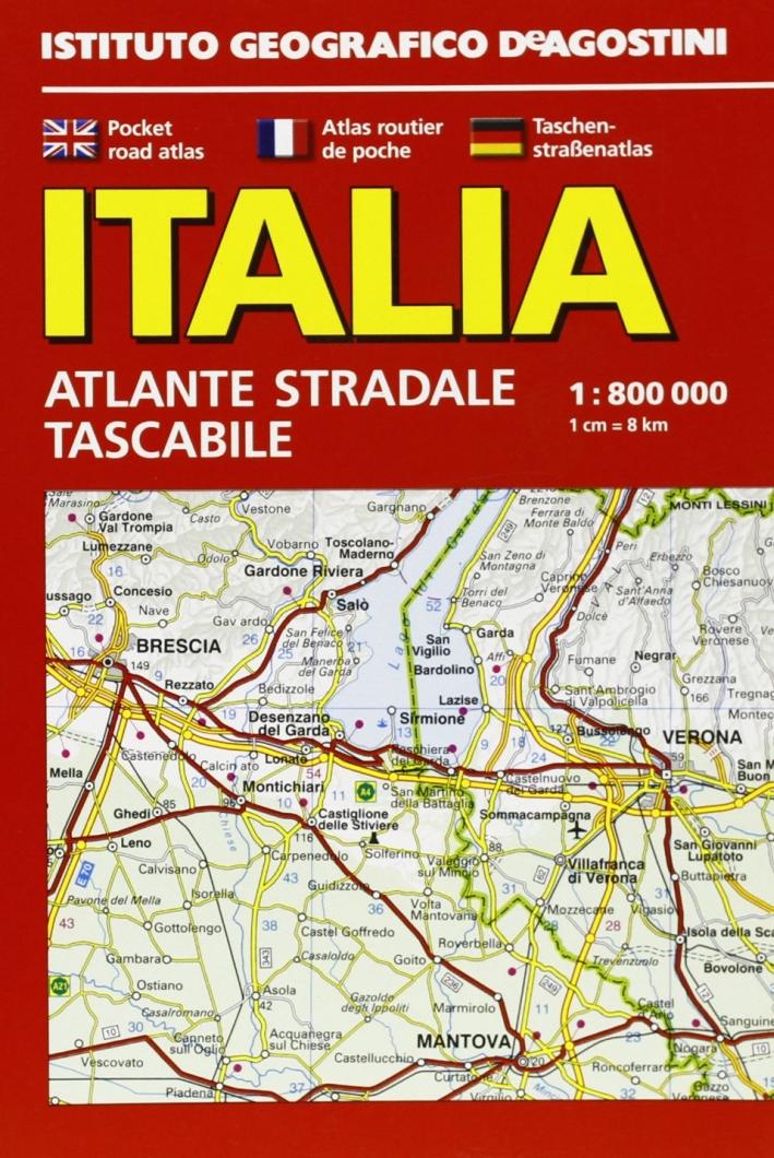 Italia. Atlante stradale tascabile 1:800.000.