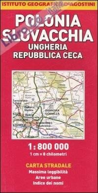 Ungheria, Repubblica Ceca, Polonia, Slovacchia 1:800.000.