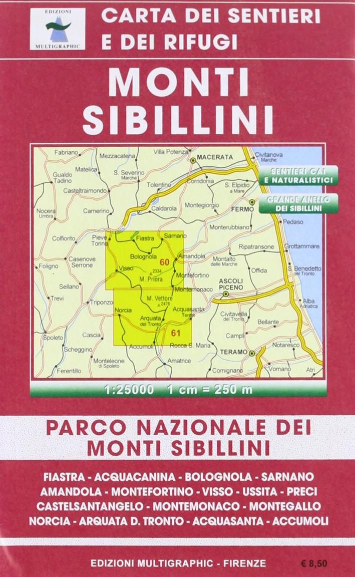 Monti Sibillini. Parco Nazionale dei Monti Sibillini. 60/61. Scala 1:25000