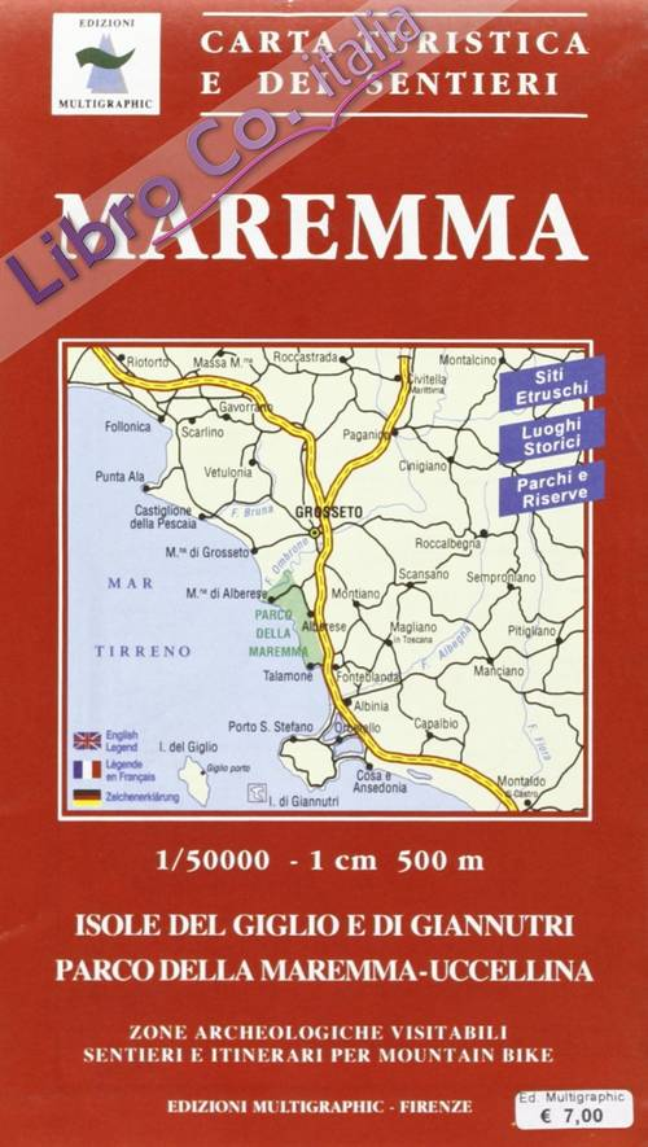 Maremma. Carta turistica e dei sentieri. Tourist map