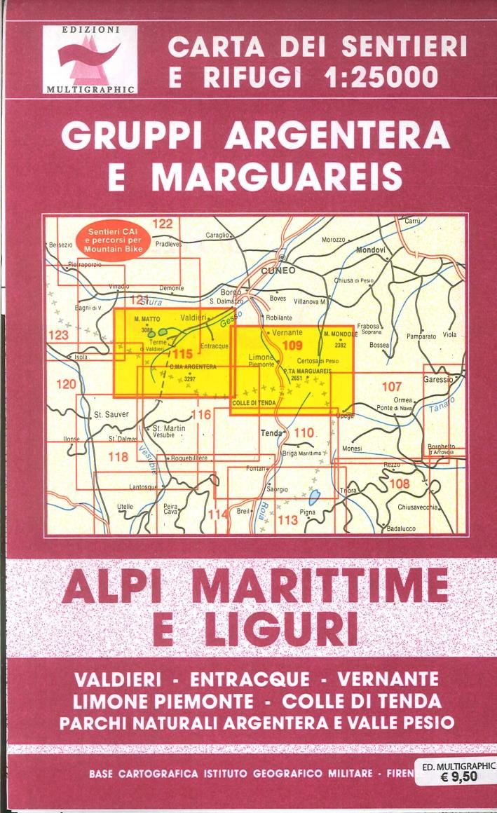 Alpi Marittime e Liguri. Gruppi Argentera e Marguareis. 109/115. Scala 1:2500