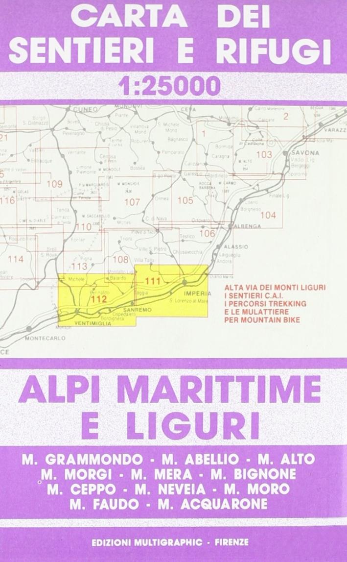 Alpi Marittime e Liguri Da Imperia a Mentone. 111/112. Scala 1:25000