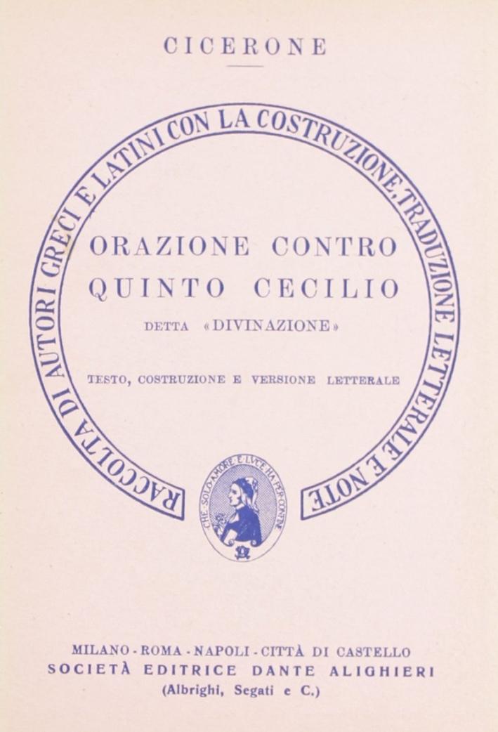 Orazione contro Quinto Cecilio. Versione interlineare