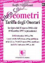 GEOMETRI TARIFFA DEGLI ONORARI. In vigore dal 15 marzo 1994 e dal 19 dicembre 1997 (e precedente).