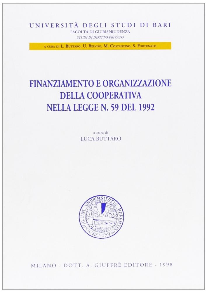 Finanziamento e organizzazione della cooperativa nella Legge n. 59 del 1992