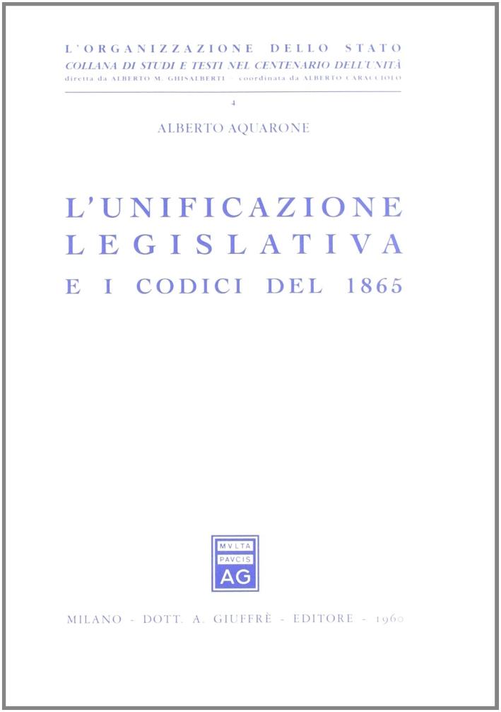 L'unificazione legislativa e i codici del 1865.