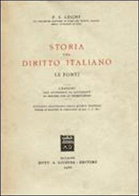 Storia del diritto italiano. Le fonti