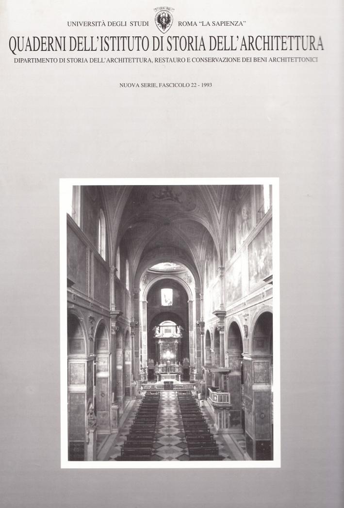 Quaderni dell'Istituto di storia dell'architettura. Nuova serie. Vol. 22