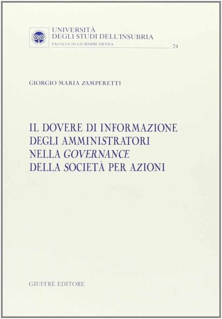 Il dovere di informazione degli amministratori nella governance della società per azioni