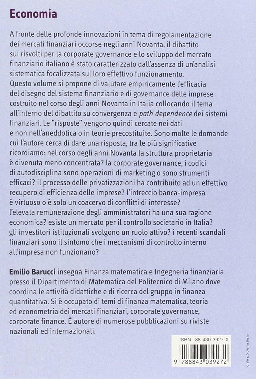 Mercato dei capitali e corporate governance in Italia. Convergenza o «path dependence»?