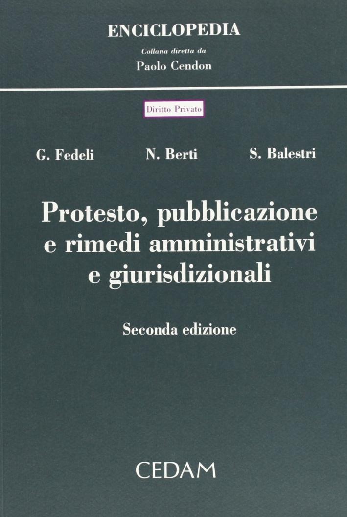 Protesto, pubblicazione e rimedi amministrativi e giurisdizionali.