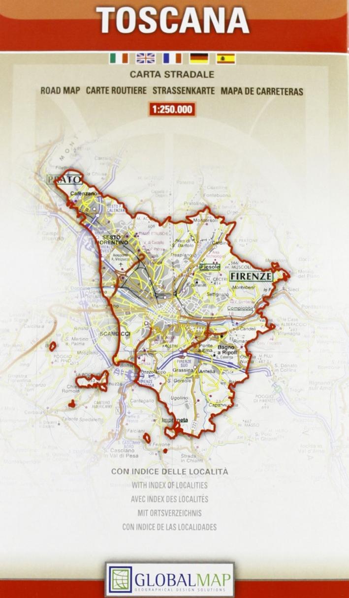 Toscana. Carta Stradale. Map Road. Carte Routiere. Strassenkarte. Mapa De Carreteras