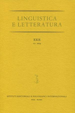 Linguistica e Letteratura. XXX. 1-2. 2005