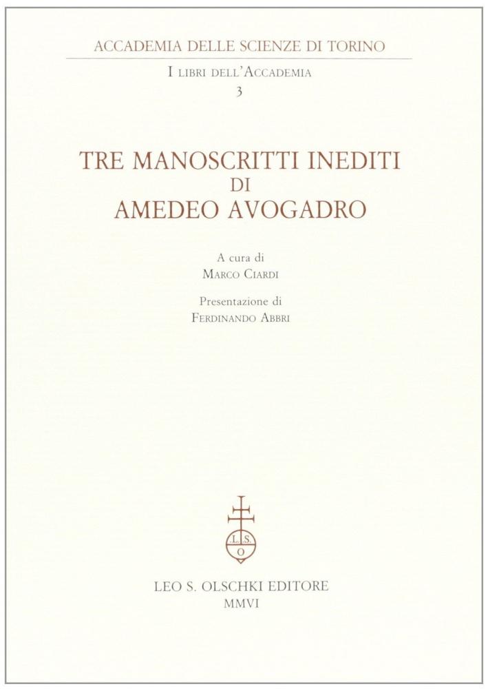 Tre manoscritti inediti di Amedeo Avogadro