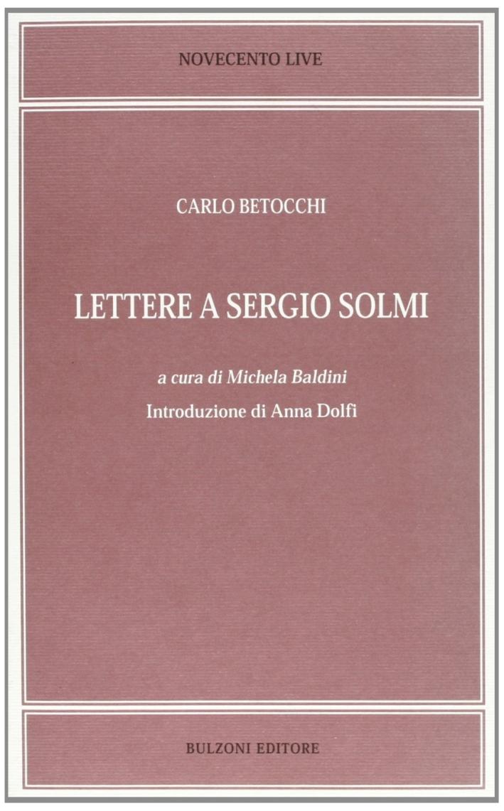 Lettere a Sergio Solmi