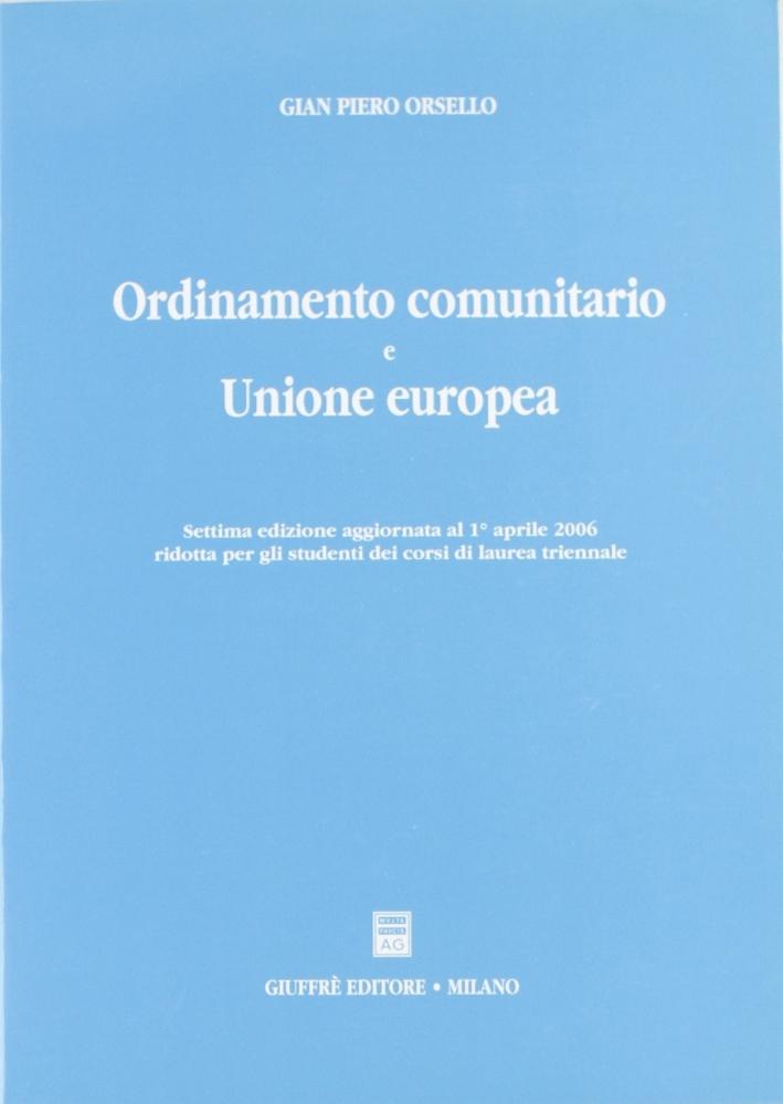 Ordinamento comunitario e Unione Europea