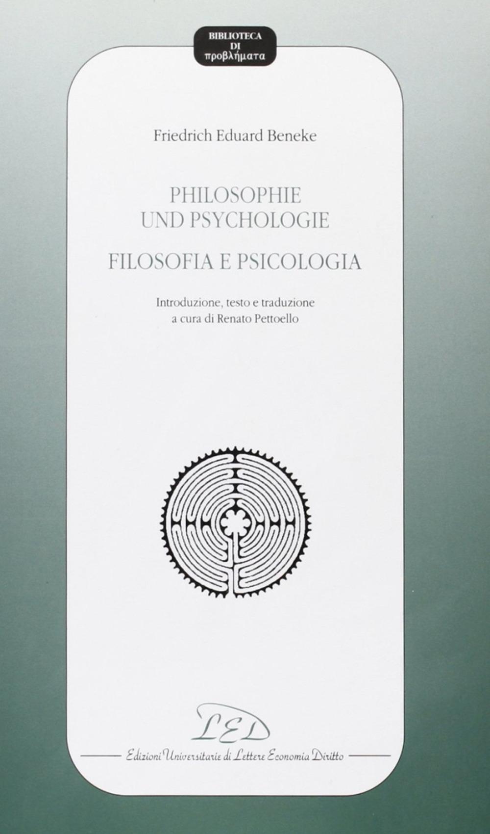 Philosophie Und Psycologie-Filosofia e Psicologia. Introduzione, Testo e Traduzione