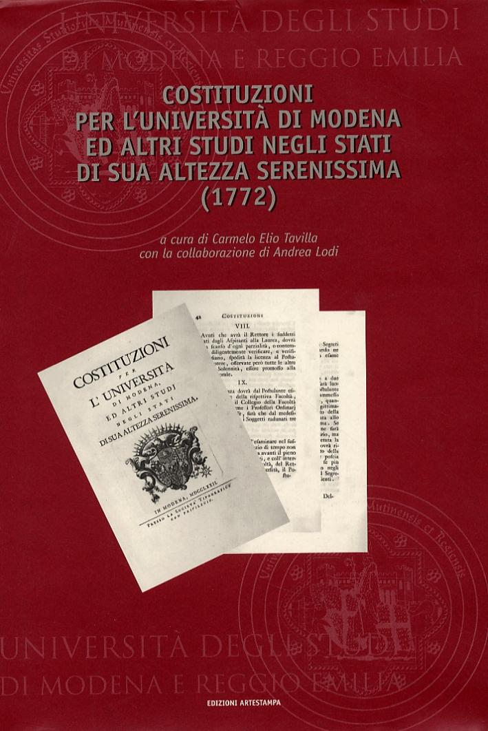 Costituzioni per l'Università di Modena ed altri studi negli stati di sua altezza serenissima (1772)