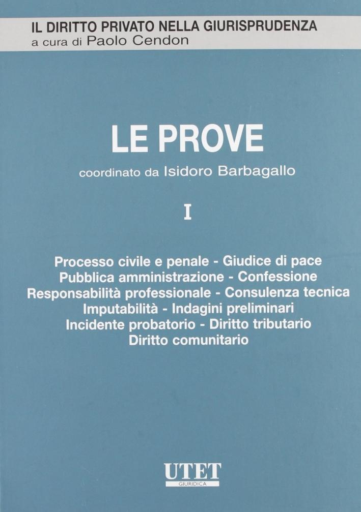 Le prove. Vol. 1: Processo civile e penale, giudice di pace, pubblica amministrazione, confessione, responsabilità professionale....
