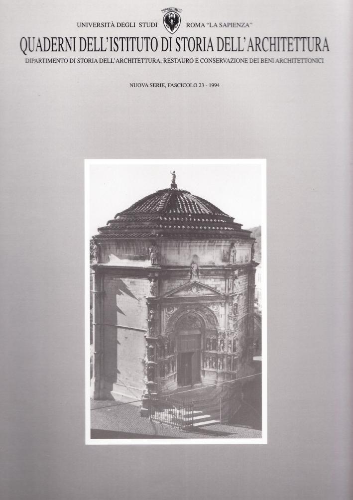 Quaderni dell'Istituto di storia dell'architettura. Nuova serie. Vol. 23