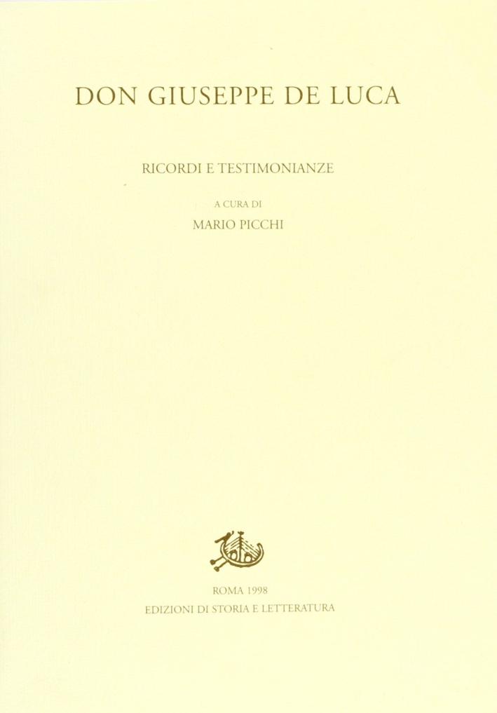 Don Giuseppe De Luca. Ricordi e testimonianze