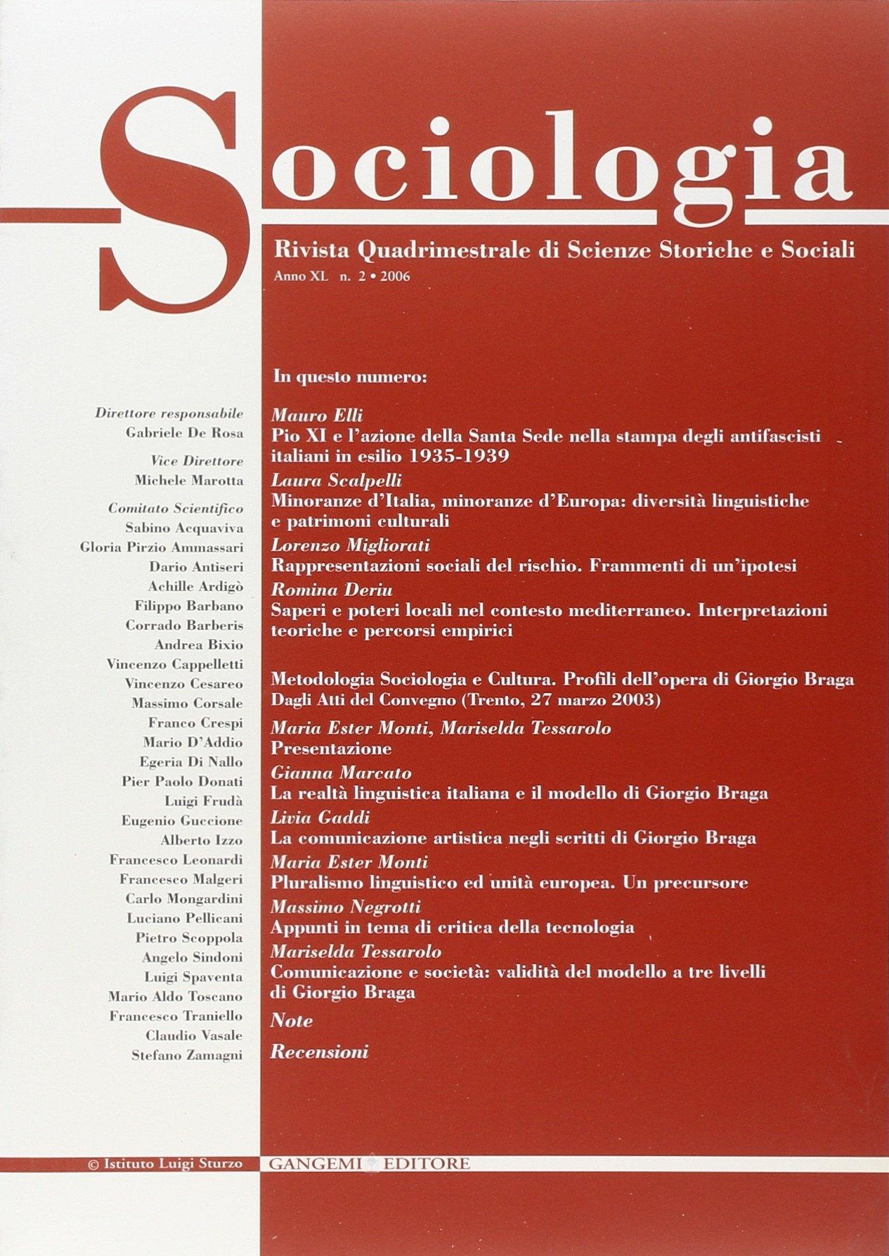 Sociologia. Rivista quadrimestrale di scienze storiche e sociali (2006). Vol. 2