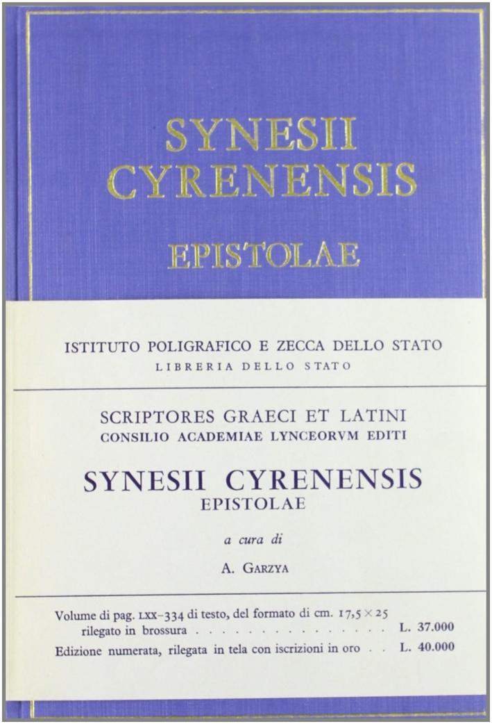 Synesii Cyrenensis epistolae.