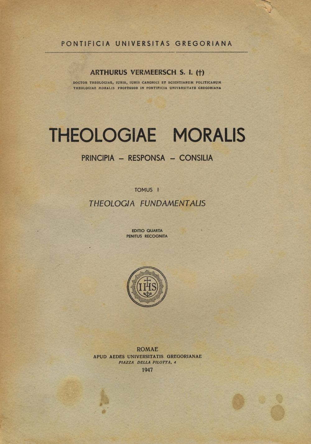 Theologiae moralis. Theologia fundamentalis