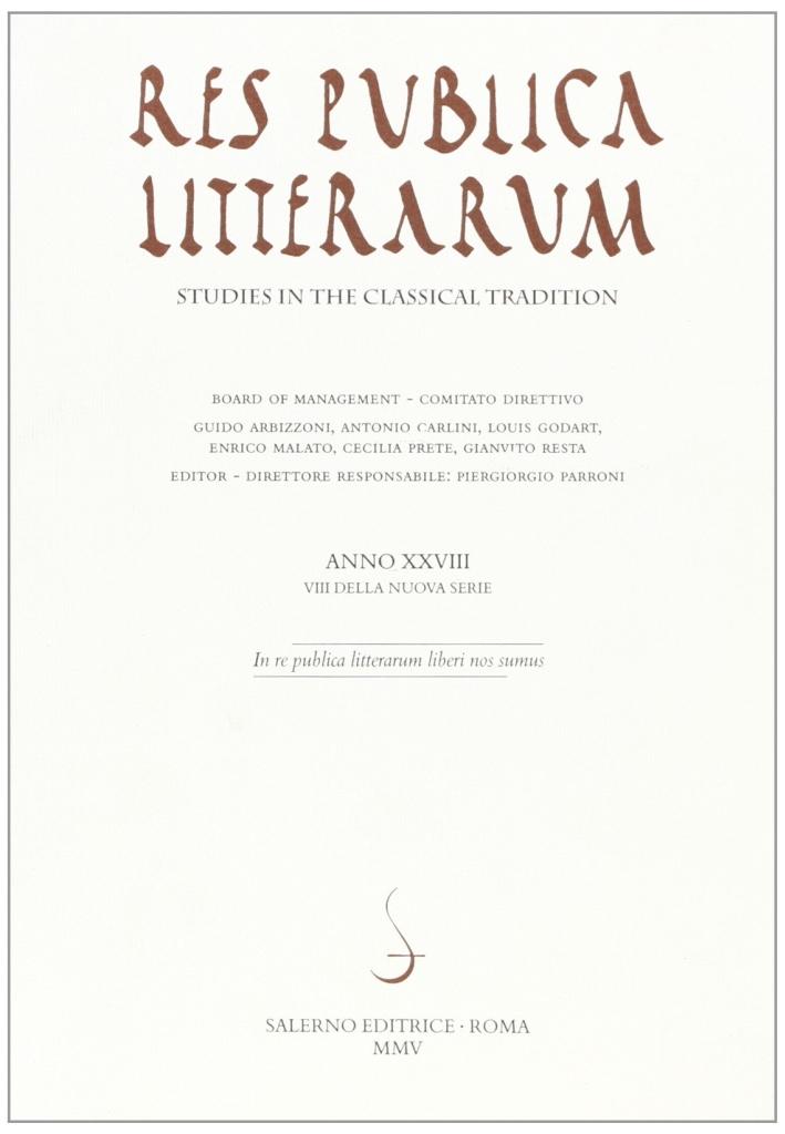 Res publica litterarum. Studies in the classical tradition. Vol. 28