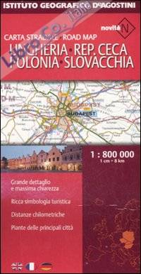 Ungheria, Repubblica Ceca, Polonia, Slovacchia 1:800.000