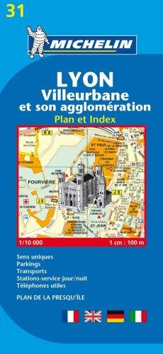Lyon. Villeurbanne et son agglomération. Plan et index 1:10.000.