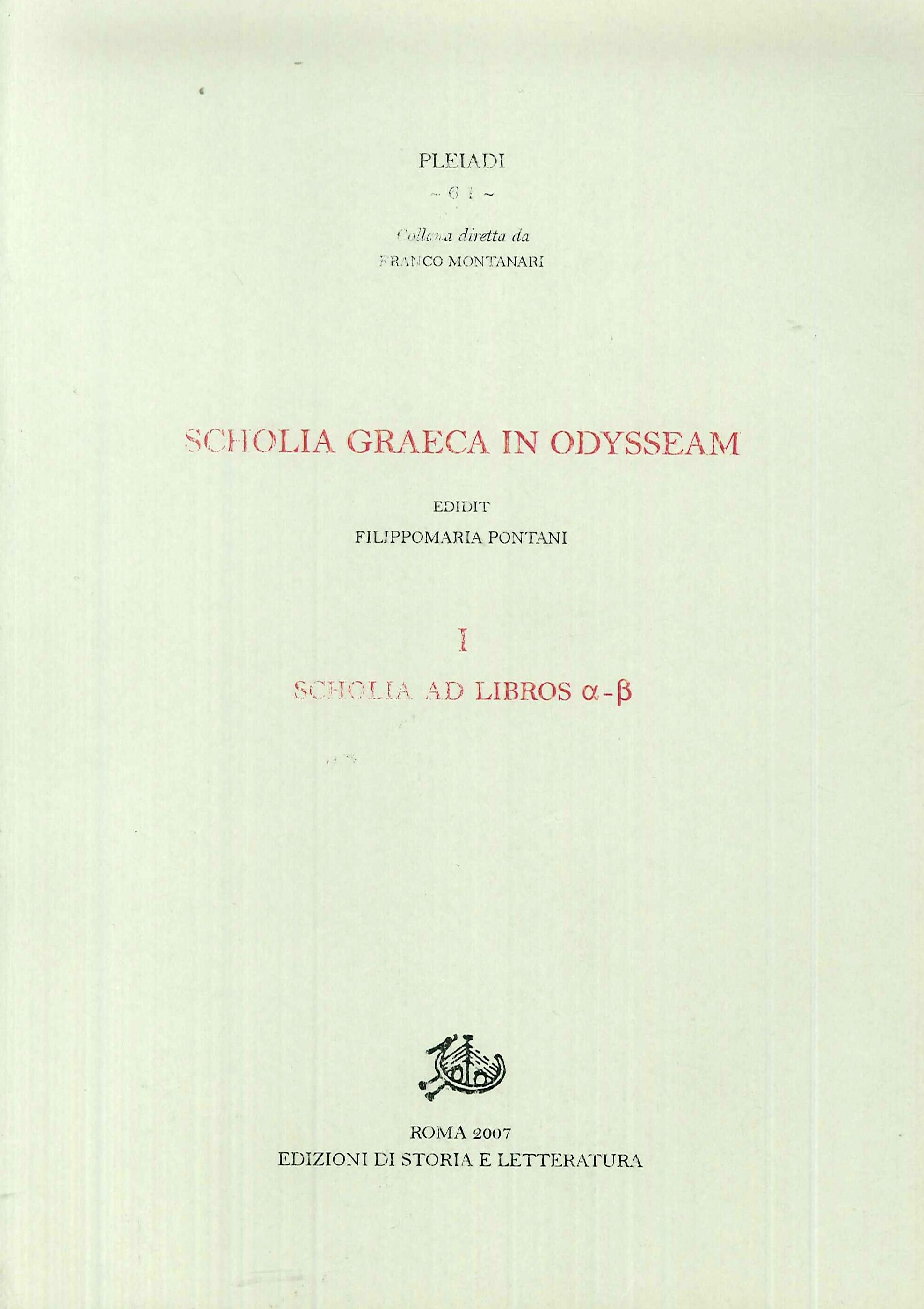 Scholia graeca in Odysseam. Vol. 1: Scholia ad libros a-b