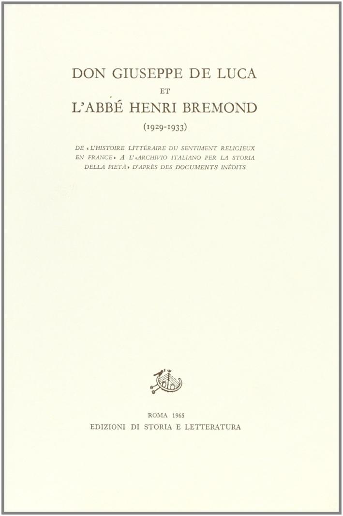 Don Giuseppe De Luca et l'abbé Henri Bremond (1929-1933). De