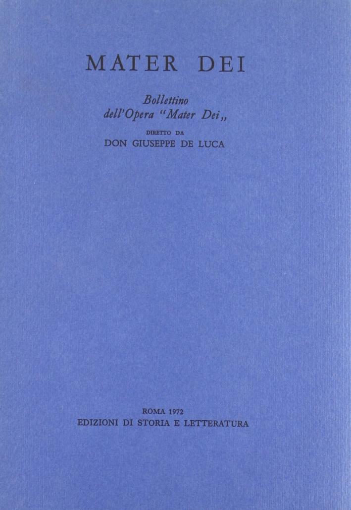Mater Dei. Bollettino dell'Opera
