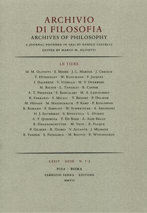 Archivio di filosofia. Archives of Philosophy. LXXIII. 1-3. 2006