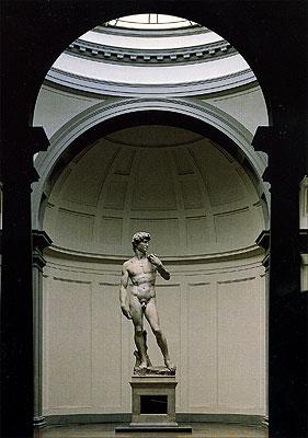 Cartolina. Firenze - Galleria dell'Accademia. Tribuna del David