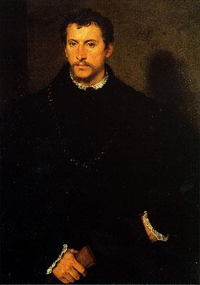 Cartolina. Firenze - Palazzo Pitti: Galleria Palatina. L'uomo dagli occhi grigi o l'Inglese (1545)