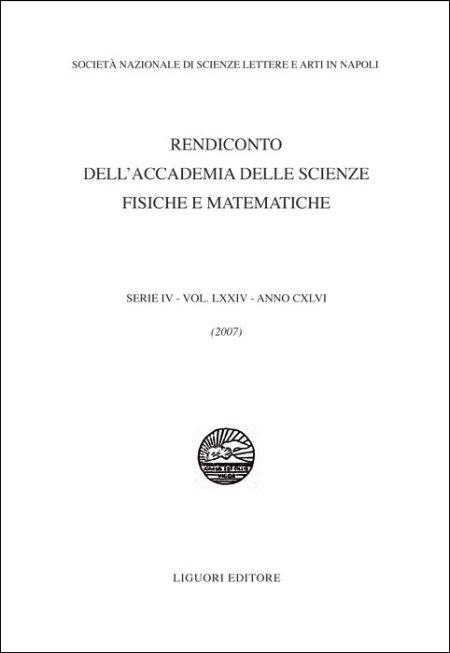 Rendiconto dell'Accademia delle scienze fisiche e matematiche. Serie IV. Vol. 74: 2007