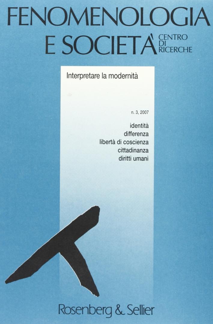 Fenomenologia e società (2007). Vol. 3
