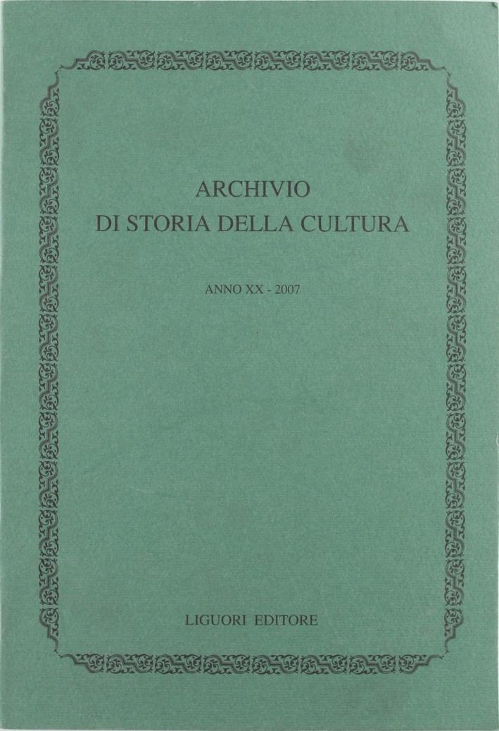 Archivio di storia della cultura (2007).